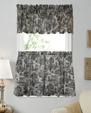 Black Victoria Park Toile Kitchen Valance and Tier Curtains hanging on curtain rods