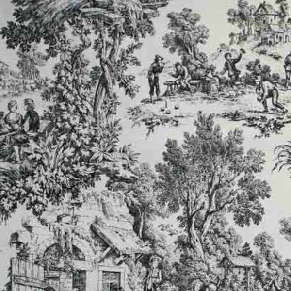 Closeup of black Victoria Park Toile Kitchen Valance and Tier Curtains fabric