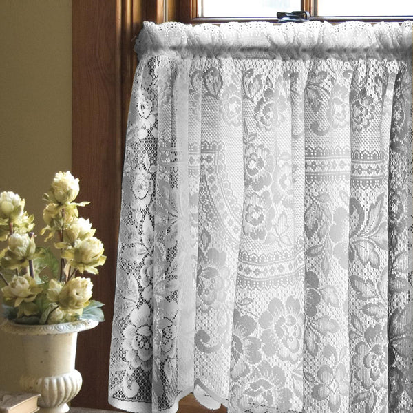Victorian Rose Lace Kitchen Tier, Swags and Valance