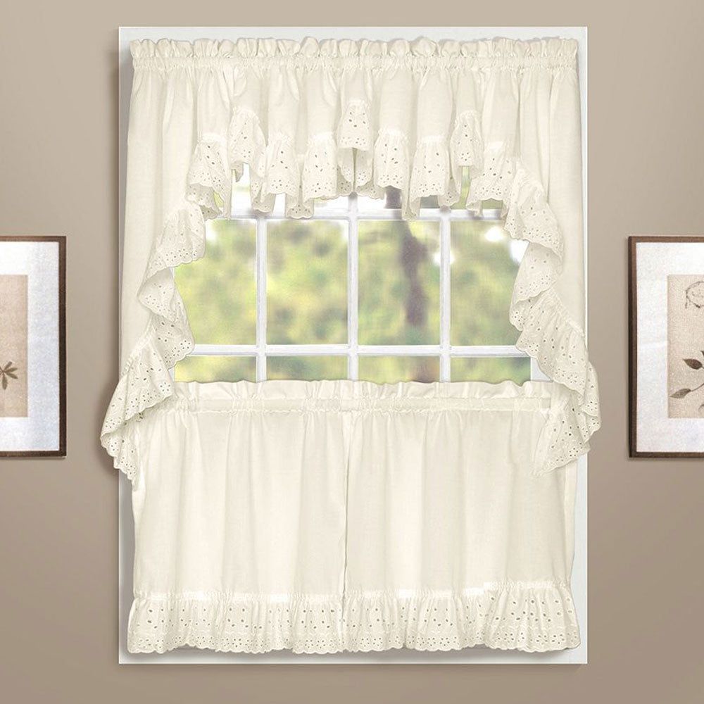 White vienna eyelet kitchen valance swags and tier curtains hanging on curtain rods
