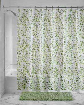 Vine Peva Vinyl Shower Curtain hanging on a shower rod