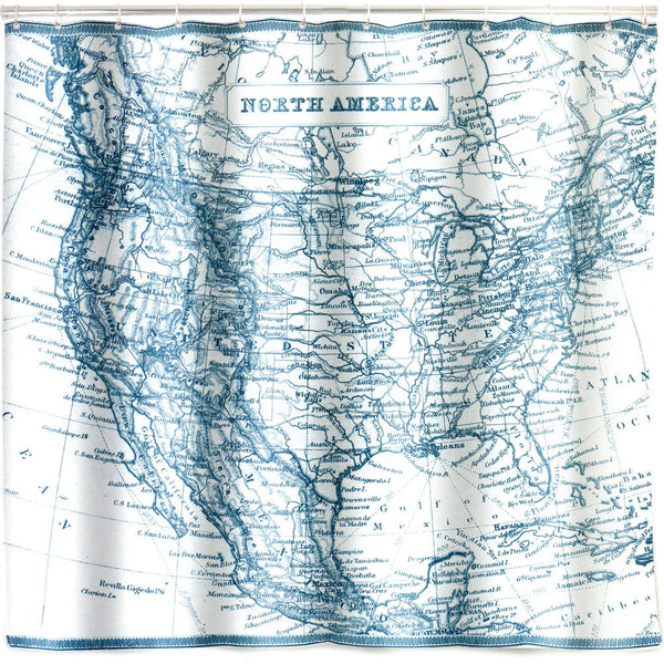 Closeup of Vintage Map Eva Vinyl Shower Curtain