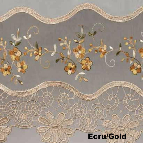 Closeup of Ecru and Gold Vintage Macrame Sheer Kitchen Valance, Swags, and Tier Curtains fabric