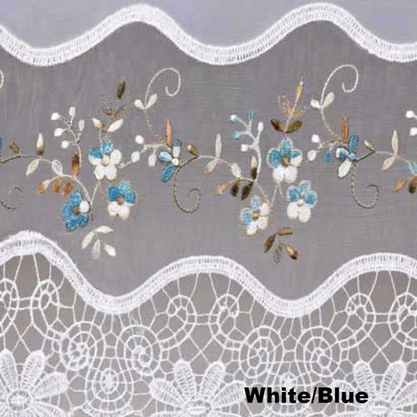 Closeup of White and Blue Vintage Macrame Sheer Kitchen Valance, Swags, and Tier Curtains fabric