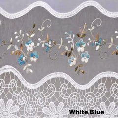 Vintage- Macrame -Kitchen -Tiers-Valance-and-Swag-White-Blue
