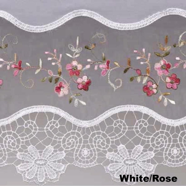 Closeup of White and Rose Vintage Macrame Sheer Kitchen Valance, Swags, and Tier Curtains fabric