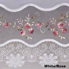 Vintage- Macrame -Kitchen -Tiers-Valance-and-Swag-White-Rose