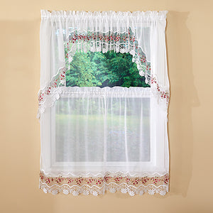 Vintage Macrame Kitchen Tiers, Valance and Swag