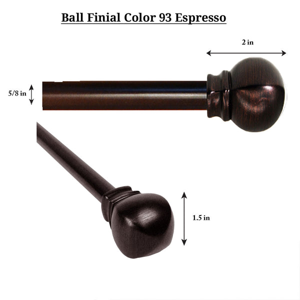 "Espresso Vogue 5/8"" Diameter Curtain Rod Set"