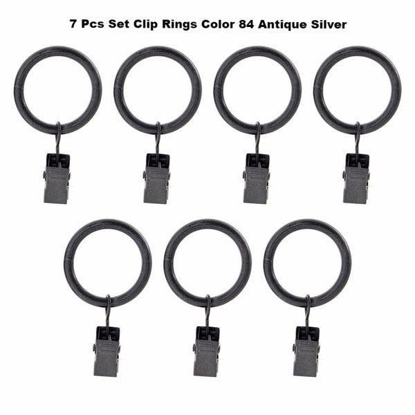 "Silver Vogue 5/8"" Diameter Curtain Rod Set Clips Rings"