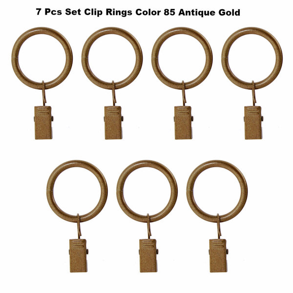 "Gold Vogue 5/8"" Diameter Curtain Rod Set Clips Rings"