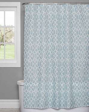 Watercolor Lattice Fabric Shower Curtain