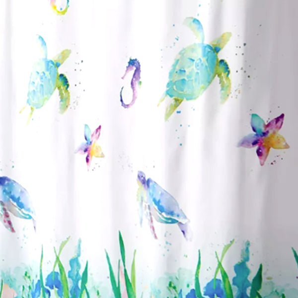 Watercolor Ocean Fabric Shower Curtain
