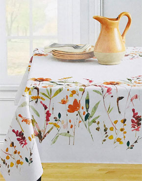 Wildflower Spice Indoor Outdoor Textured Fabric Tablecloth