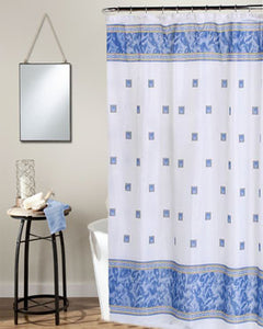 Slate Windsor Fabric Shower Curtain hanging on a shower curtain rod