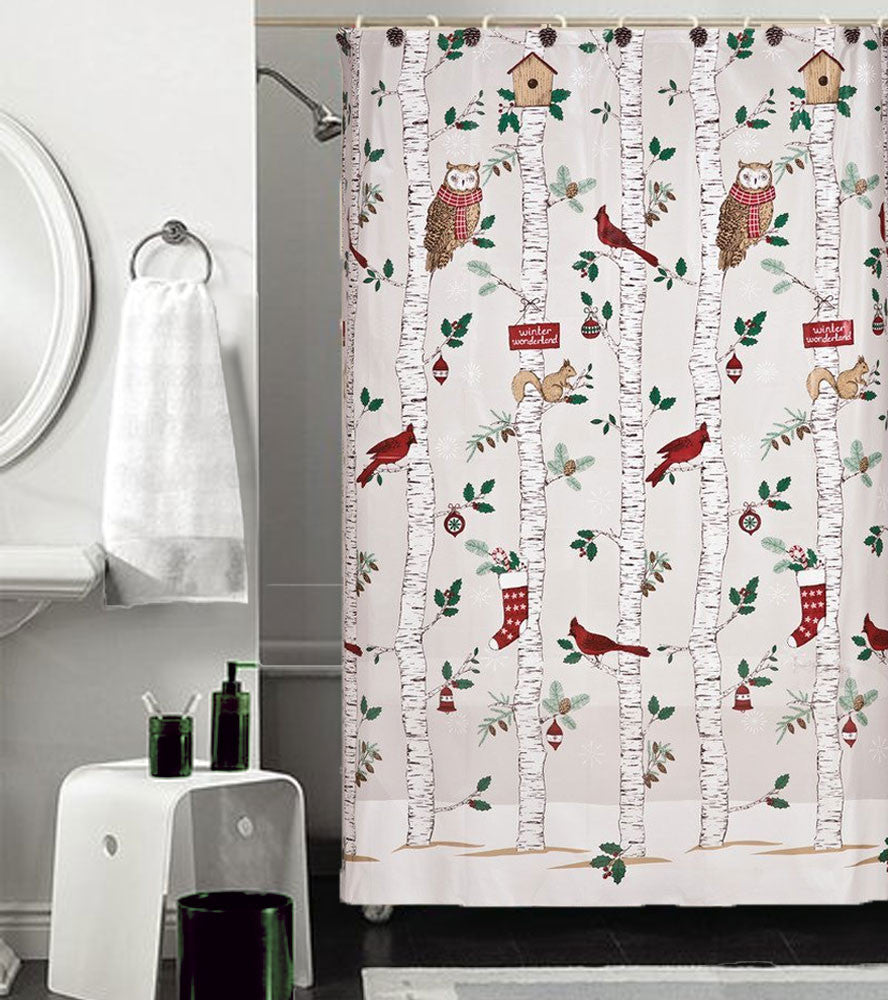 Winter Birch Peva Vinyl Shower Curtain