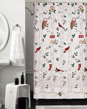Winter Birch Peva Shower Curtain hanging in a bathroom