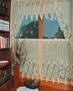 Cream Heritage Lace Woodland Kitchen Valance, Swags and Tier Curtains hanging on a curtain rod