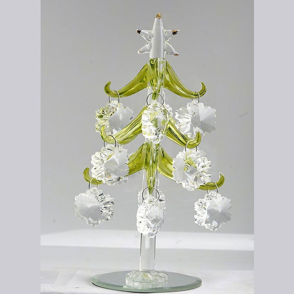"Crystal Snowflake 8"" Glass Christmas Trees"