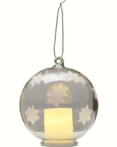 Christmas Snowflake LED Candle in Globe by LS Arts