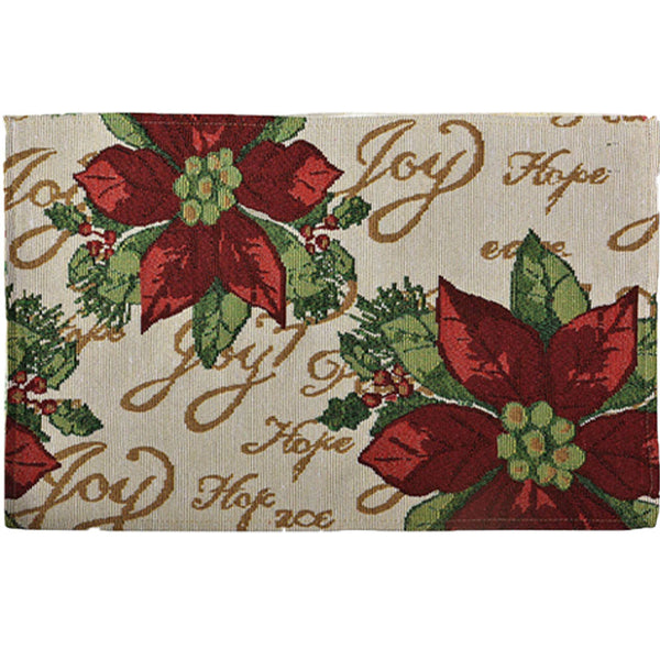 "Multi Christmas 13""x 19"" Tapestry Placemats Poinsettia Script"