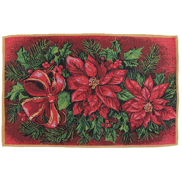 "Multi Christmas 13""x 19"" Tapestry Placemats Poinsettia"
