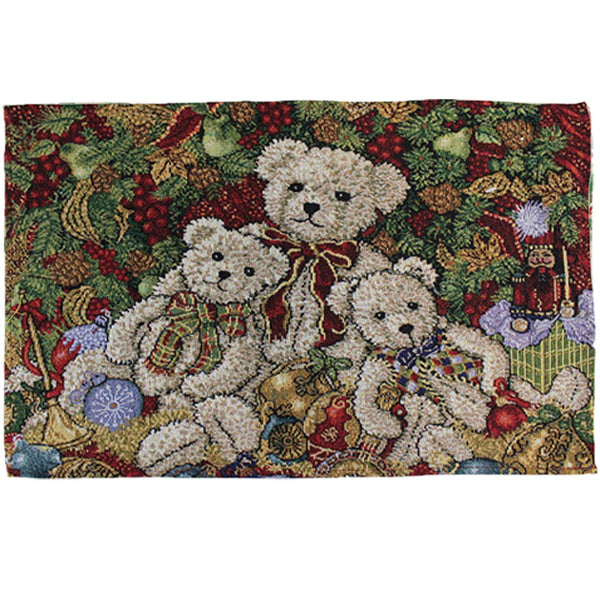"Multi Christmas 13""x 19"" Tapestry Placemats Teddy Bear"