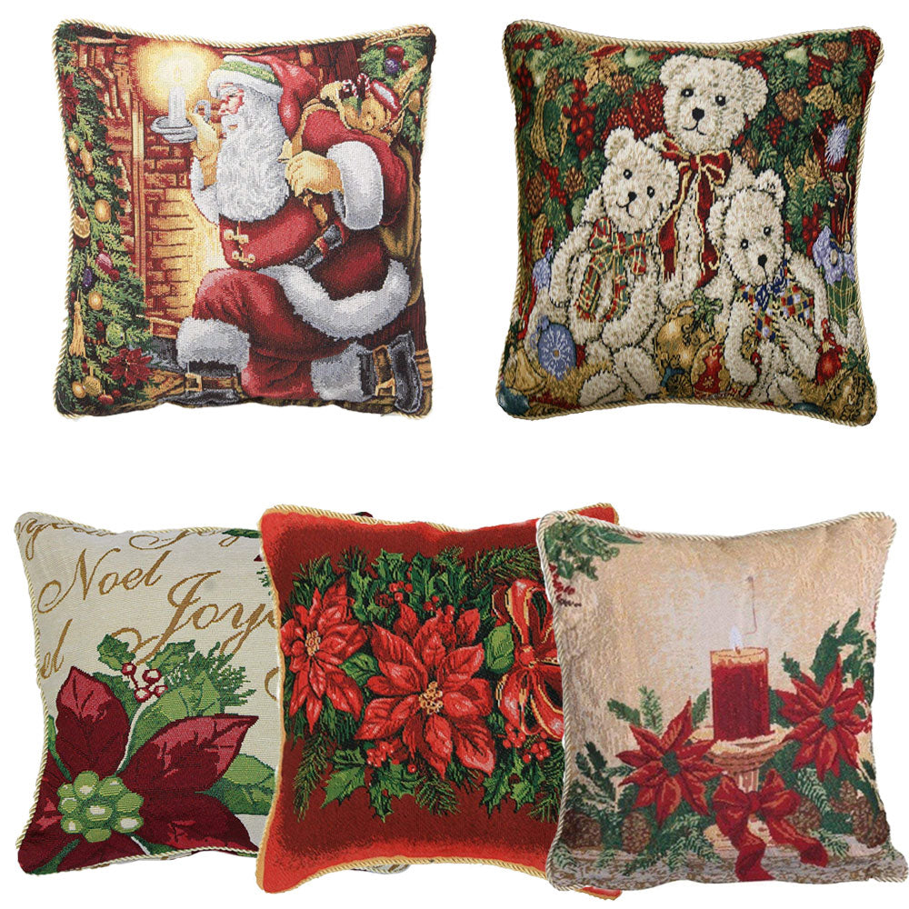Christmas Tapestry 18 X 18 Throw Pillow Covers