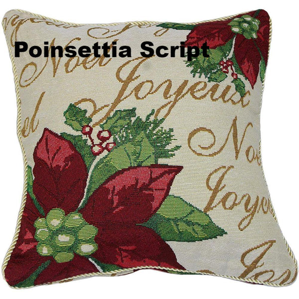 "close up shot of Christmas Tapestry 18""x 18"" Throw Pillow Covers poinsettia script"
