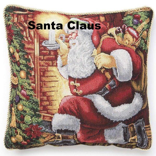 "close up shot of Christmas Tapestry 18""x 18"" Throw Pillow Covers santa claus"