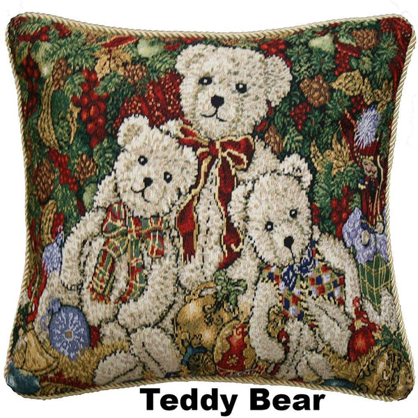 "close up shot of Christmas Tapestry 18""x 18"" Throw Pillow Covers teddy bear"