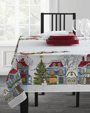 Christmas-Village-Textured-Printed-Tablecloth