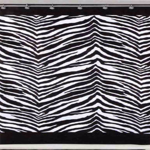 Black White Zebra Fabric Shower Curtain Hanging On A Rod