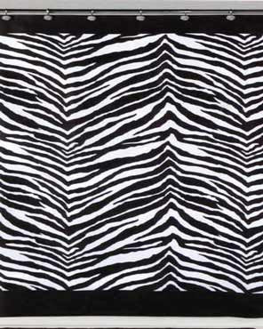 Black/White Zebra Fabric Shower Curtain hanging on a shower curtain rod