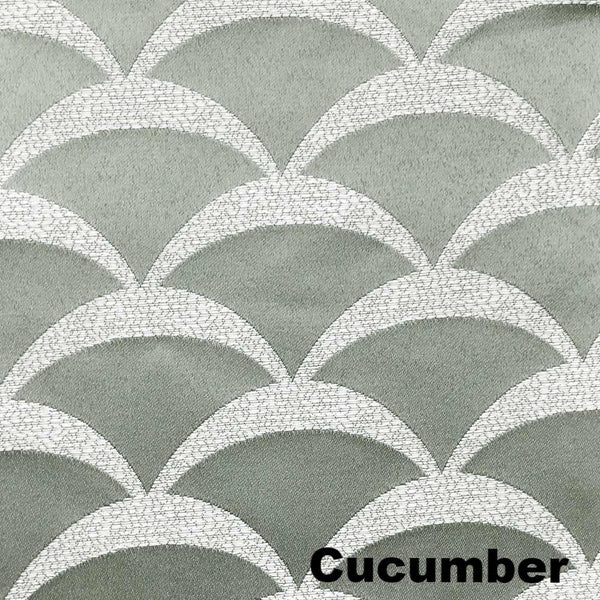 Closeup of Cucumber Sun Zero Atticus Jacquard Lined Rod Pocket Valance fabric