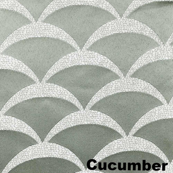Closeup of Cucumber Sun Zero Atticus Jacquard Lined Rod Pocket Panel and Valance Lining pattern