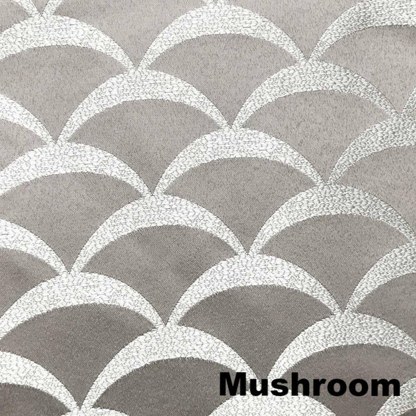 Closeup of Mushroom Sun Zero Atticus Jacquard Lined Rod Pocket Valance fabric