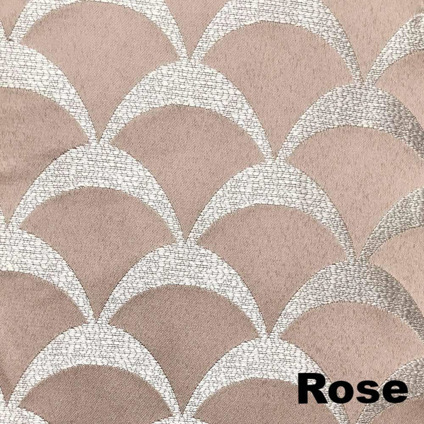 Closeup of Rose Sun Zero Atticus Jacquard Lined Rod Pocket Valance fabric