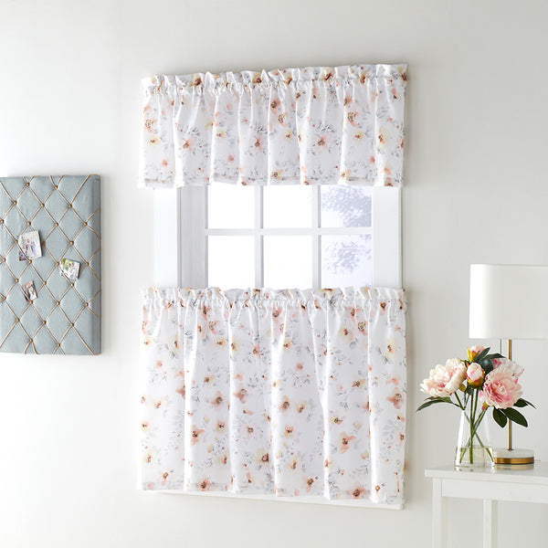 Blushing Blooms Kitchen Tier and Valance