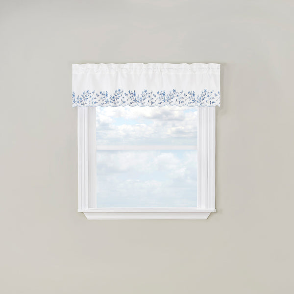 Bloom Embroidered Tier of Pair, Valance  & Swag with Scalloped Hem