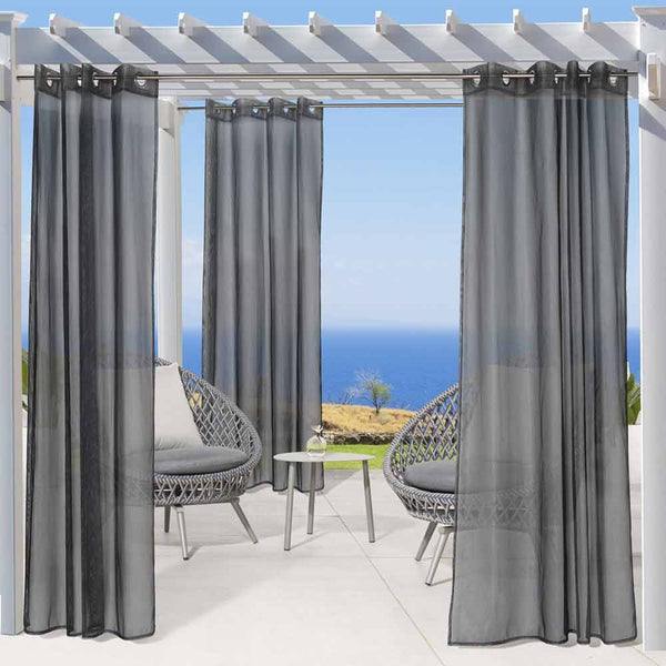 Black No Se-em Grommet Top Outdoor Panel hanging on a decorative rod