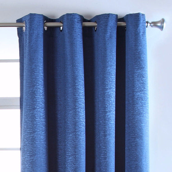 Closeup of navy Portland Room Darkening Grommet Top Panel fabric and grommets