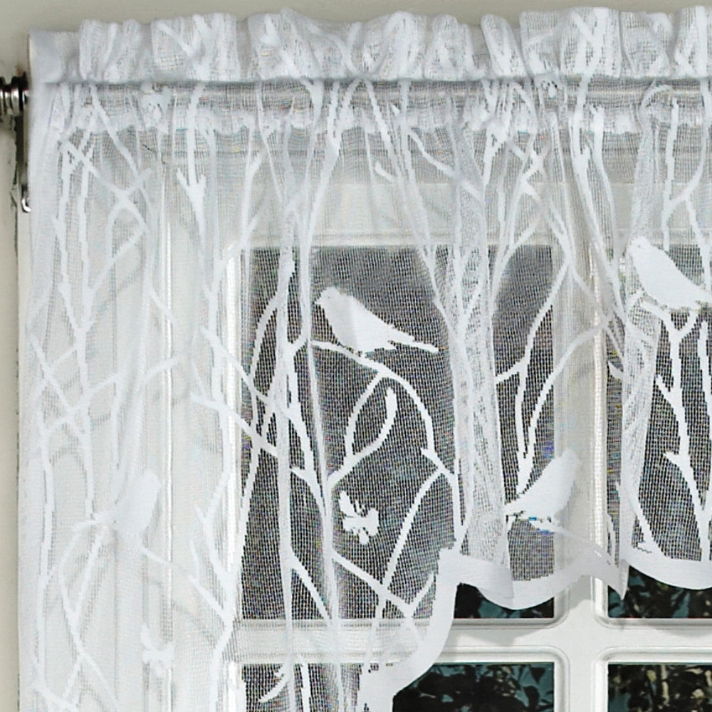 Ordinaire ... Closeup Of White Songbird Lace Kitchen Valance, Swags, And Tier Curtains  Lace ...