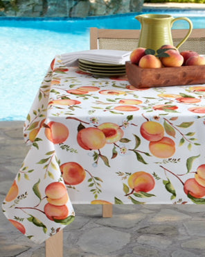 Sweet Peaches Indoor/Outdoor Spill Proof Tablecloth