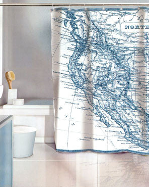 Vintage Map Eva Vinyl Shower Curtain