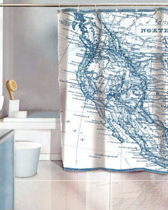 Vintage Map Eva Vinyl Shower Curtain hanging on a shower rod
