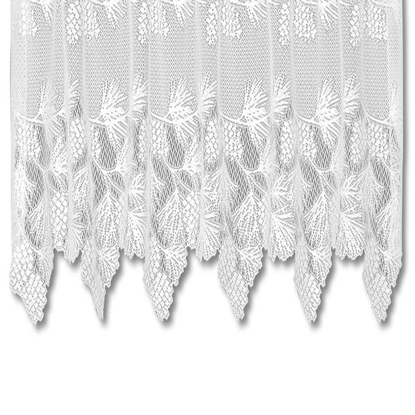 Closeup of Heritage Lace Woodland Kitchen Valance fabric and scallop and fringe