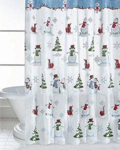Woodland Winter Vinyl Shower Curtain Hanging In A Bathroom