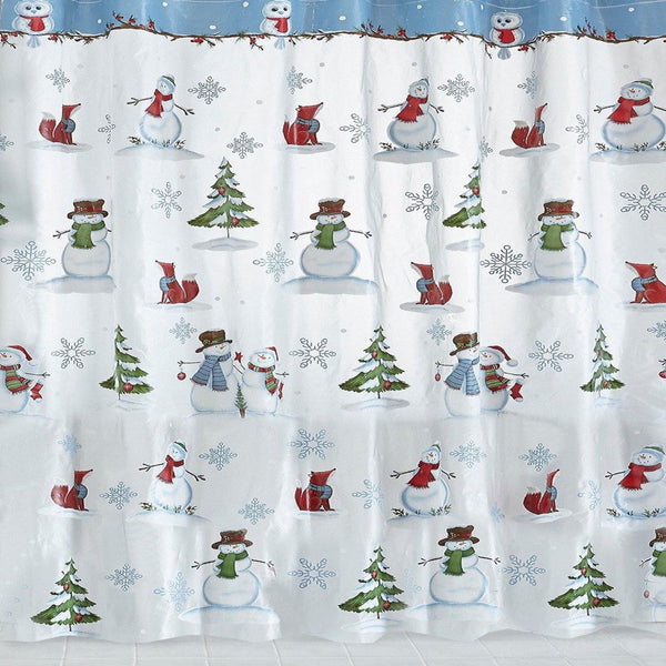 Closeup of Woodland Winter Vinyl Shower Curtain hanging in a bathroom