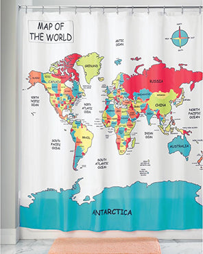 World Map Fabric Shower Curtain